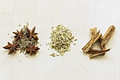 Aniseed, star anise, fennel seeds and cinnamon sticks