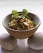 Fried ginger noodles with shiitake mushrooms