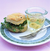 Scone with watercress and flower jelly