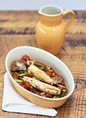 Saddle of rabbit with chanterelles and tomatoes