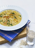 Pearl barley soup with root vegetables