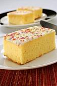 Lemon slice with coloured sugar sprinkles