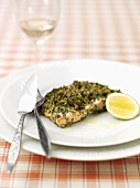 Salmon steak with herb crust
