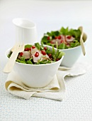 Salad leaves with roast duck breast and pomegranate seeds