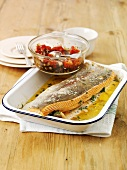 Fried sea trout with tomato salad