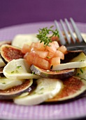 Carpaccio of figs and mozzarella