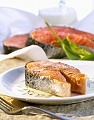 Salmon steak with sorrel