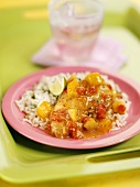 Chicken breast with mango salsa and rice