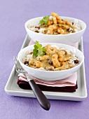 Shrimp curry on raisin rice