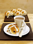 Hot cross buns and coffee