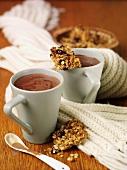 Hot chocolate and flapjacks (home-made oat bars)