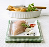 Fresh poultry breast and fried poultry legs