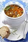 Spicy goulash soup with bread