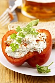 Pepper stuffed with herb soft cheese