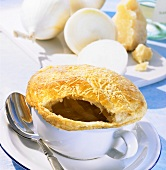 French onion soup with puff pastry lid