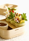 Asian cucumber rolls with vegetables