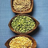 Three types of lentils in bowls