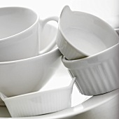 White bowls and baking dishes