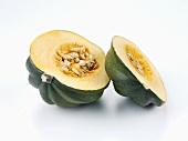 A halved acorn squash