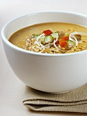 Gazpacho (cold tomato and vegetable soup) in soup bowl