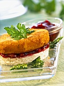 Fried Camembert and cranberry jam on toast