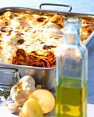 Lasagne in the dish
