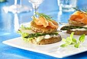 Potato burger with asparagus and salmon