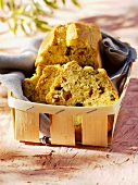 Olive bread in woodchip basket