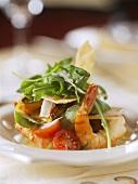 Insalata con pane carasau e gamberi (Shrimp salad)