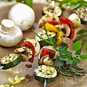 Grilled vegetable kebabs with mushrooms and herbs