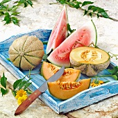 Various types of melons on a tray