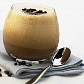 Espresso with vodka and milk froth