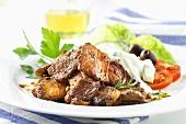 Gyros with tzatziki and salad