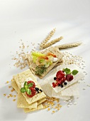 Three different crispbreads - corn, mixed-grain and rice