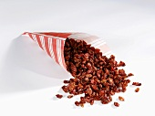 Dried barberries in a paper bag