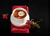 Rose hip soup with chopped almonds