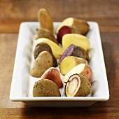 Various types of potatoes on a platter