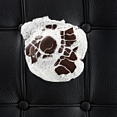 Crushed chocolate marshmallow on couch
