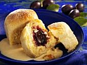 Damson Rohrnudeln (baked yeast cakes) with custard