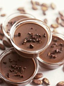 Chocolate cream in small glass dishes