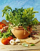 Pot of herbs with garlic and tomatoes