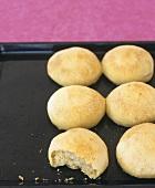 Spelt rolls on baking tray