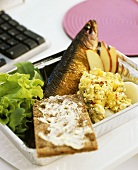 Smoked herring with apple cottage cheese and crispbread
