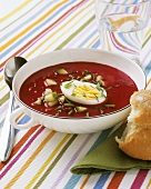 Beetroot soup with boiled egg