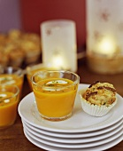 Carrot soup and cheese muffin