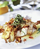 Fried monkfish with artichokes and ceps