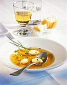 Cep consommé with Parmesan dumplings