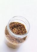 Coarse-grain mustard in a jar