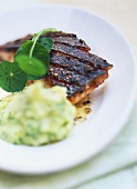 Salmon with spicy crust and herb mashed potato