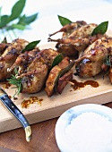 Quaglie arrosto (Roast quail on skewers with bay leaves)